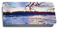 Frozen Delaware River Sunset Portable Battery Charger