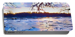 Frozen Delaware River Sunset Portable Battery Charger