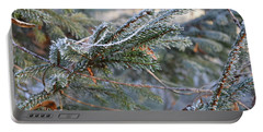 Portable Battery Charger featuring the photograph Frozen Fir Branch  by Felicia Tica