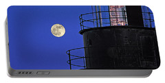 Portable Battery Charger featuring the photograph Full Moon And West Quoddy Head Lighthouse Beacon by Marty Saccone