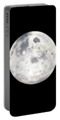 Full Moon In Black Night Portable Battery Charger
