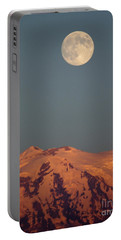 Full Moon Over Mount Rainier Portable Battery Charger