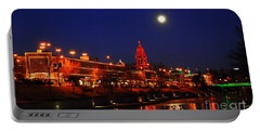 Full Moon Over Plaza Lights In Kansas City Portable Battery Charger by Catherine Sherman