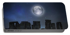 Full Moon Over Stonehenge Portable Battery Charger