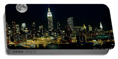 Full Moon Rising - New York City Portable Battery Charger by Anthony Sacco