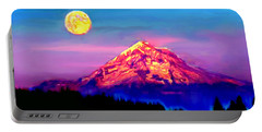 Full Moon Rising Over Mount Hood Oregon Portable Battery Charger