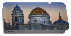 Full Moon Rising Over The Cathedral Cadiz Spain Portable Battery Charger