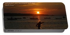 Fun At Sunset/ Inspirational Portable Battery Charger by Karen Silvestri