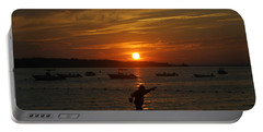 Fun At Sunset Portable Battery Charger by Karen Silvestri