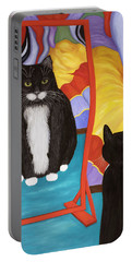 Portable Battery Charger featuring the painting Fun House Fat Cat by Karen Zuk Rosenblatt