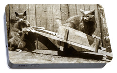Portable Battery Charger featuring the photograph Fun With Cats Henry King Nourse Photographer Circa 1900 by California Views Mr Pat Hathaway Archives