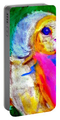 Funky Barn Owl Art Print Portable Battery Charger