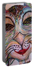 Portable Battery Charger featuring the painting Funky Feline  by Eloise Schneider