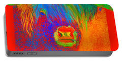 Funky Scottish Highland Cow Wildlife Art Prints Portable Battery Charger