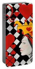 Portable Battery Charger featuring the painting Gabby Queen Of Hearts by Carol Jacobs