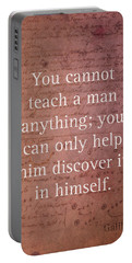 Galileo Quote Science Astronomy Math Physics Inspirational Words On Canvas Portable Battery Charger
