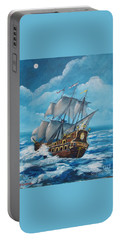 Galleon At Night Portable Battery Charger