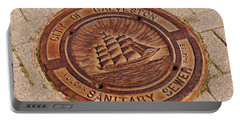 Portable Battery Charger featuring the photograph Galveston Texas Manhole Cover by Connie Fox