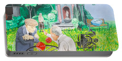 Portable Battery Charger featuring the painting Gambling Grandma  by Lazaro Hurtado