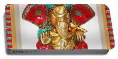 Ganapati Ganesh Idol Hinduism Religion Religious Spiritual Yoga Meditation Deco Navinjoshi  Rights M Portable Battery Charger by Navin Joshi