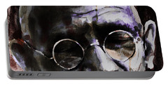 Portable Battery Charger featuring the painting Gandhi by Laur Iduc