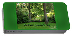 Garden Bench On Saint Patrick's Day Portable Battery Charger