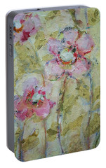 Portable Battery Charger featuring the painting Garden Bliss by Mary Wolf