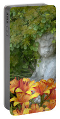Portable Battery Charger featuring the photograph Garden Girl And Orange Lilies Digital Watercolor by Sandra Foster