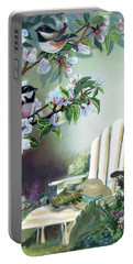 Chickadees In Blossom Tree Portable Battery Charger