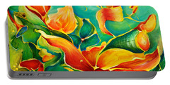 Portable Battery Charger featuring the painting Garden Series No.3 by Teresa Wegrzyn