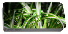 Gecko Camouflaged On Spider Plant Portable Battery Charger by Connie Fox