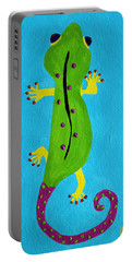 Portable Battery Charger featuring the painting Gecko Gecko by Deborah Boyd