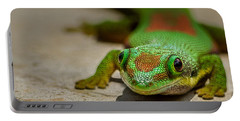 Gecko Portrait Portable Battery Charger by Linda Villers