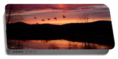 Geese After Sunset Portable Battery Charger