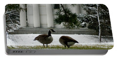 Portable Battery Charger featuring the photograph Geese In Snow by Kathy Barney