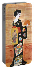 Portable Battery Charger featuring the painting Geisha by Mini Arora