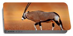 Gemsbok On Desert Plains At Sunset Portable Battery Charger