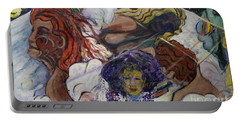 Portable Battery Charger featuring the painting Wind Whisperers  by Avonelle Kelsey