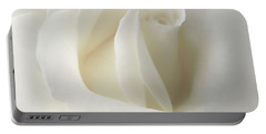 Gentle White Rose Flower Portable Battery Charger