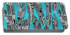 Geo Feathers Turquoise Blue Portable Battery Charger