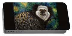Portable Battery Charger featuring the drawing Geoffrey's Marmoset by Sandra LaFaut