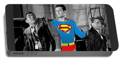 George Reeves As Superman In His 1950's Tv Show Apprehending Two Bad Guys 1953-2010 Portable Battery Charger