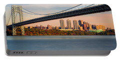 George Washington Bridge In Autumn Portable Battery Charger