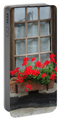 Geraniums In Timber Window Portable Battery Charger by Barbie Corbett-Newmin