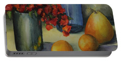 Geraniums With Pear And Oranges Portable Battery Charger
