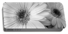 Gerber Daisies In Black And White Portable Battery Charger by Jennie Marie Schell