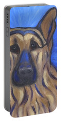 Portable Battery Charger featuring the painting German Shepherd by Karen Zuk Rosenblatt