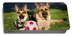 German Shepherd Sisters Portable Battery Charger by Eleanor Abramson