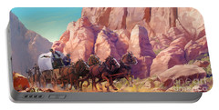 Portable Battery Charger featuring the painting Gett'en Through by Rob Corsetti
