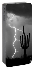 Giant Saguaro Cactus Lightning Strike Bw Portable Battery Charger by James BO  Insogna